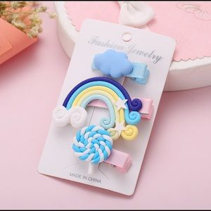 3/$20 Blue Cloud Lollipop Rainbow Hair Clip Set